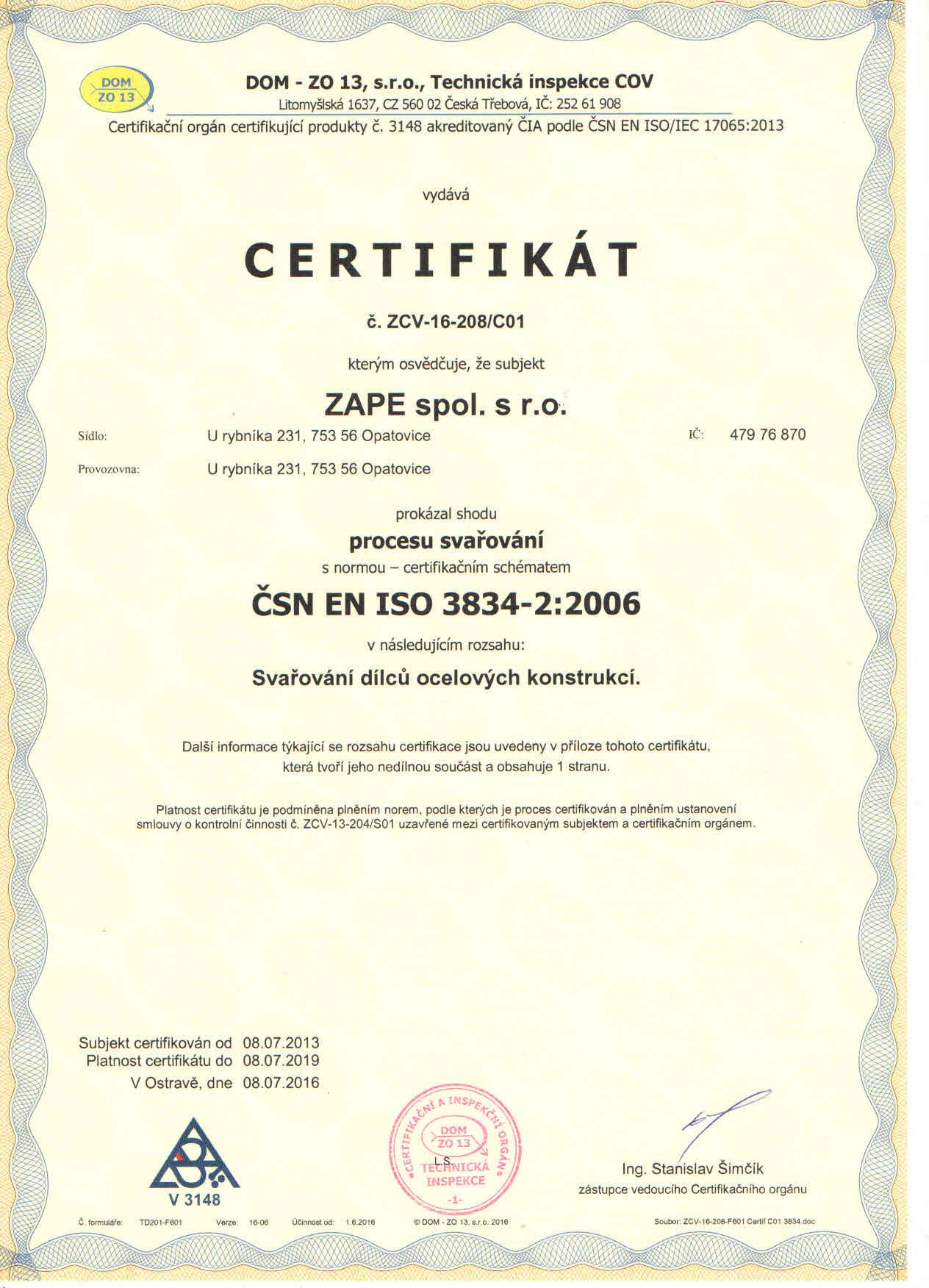 d4643dfe053 Jsme držiteli certifikátů svařování ČSN EN 1090-2+A1 2012 a ...
